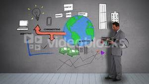 Businessman holding diary watching animated business plan