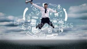 Businessman jumping in front of animated business plan