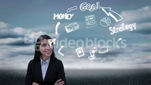 Content businesswoman watching holographic business plan cycle