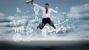 Screaming businessman jumping in front of animated business plan