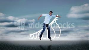 Cheerful casual man jumping in front of success graphic