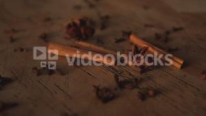 Star anise falling on table