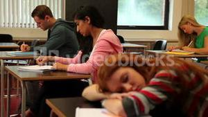 Student asleep at her desk in class