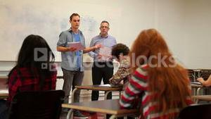 Student giving a presentation to his class