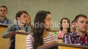 Students listening carefully in lecture hall