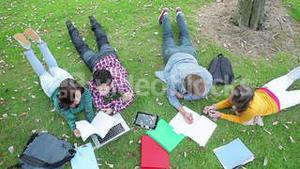 Students studying together on the grass