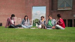 Students chatting together sitting outside