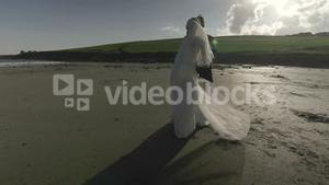Smiling newlyweds dancing on the beach