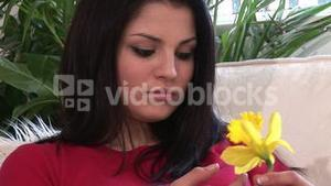Stock Footage of a Woman with Flower