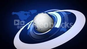 Earth rotating on blue map background