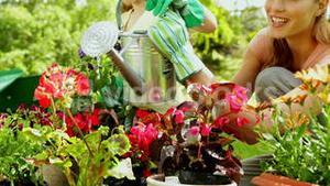 Cute girl watering flowers with her mother