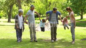 Multi generation family smiling and holding hands in a park