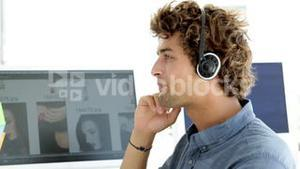 Content creative designer phoning with headset