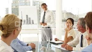 Businessman explaining bar chart to colleagues at presentation