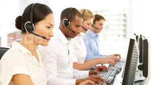 Call centre employees working