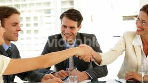 Businesswomen shaking hands at interview