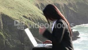 Business Woman Working Outdoors