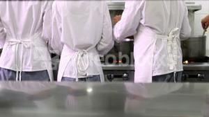Rear view of busy chefs at work