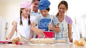 Cute family baking together