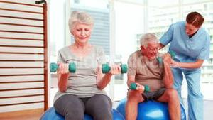Two senior citizens exercising with physiotherapist
