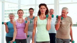 Fitness group lifting hand weights