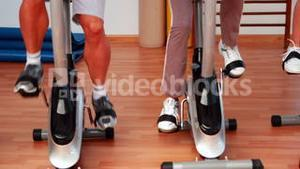 Group doing a spinning class