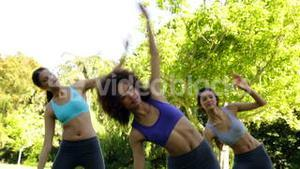 Fit group stretching in the park