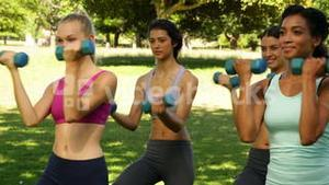 Fitness class lifting hand weights together