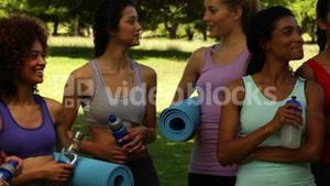 Fitness class chatting before their workout in the park