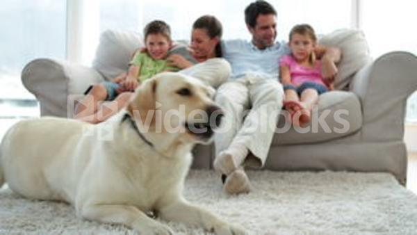 Cute Family Relaxing Together On The Couch With Their Dog On The Rug