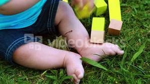 Baby boy playing with building blocks on the grass