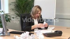 A woman Frustrated in Office