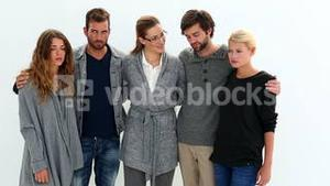 Rehab group standing in a row with their therapist