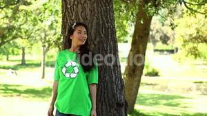 Happy environmental activist enjoying nature