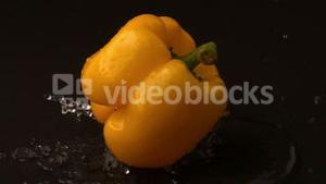 Yellow pepper falling on wet black surface