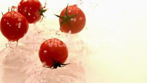 Cherry tomatoes falling on white wet surface