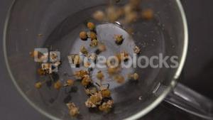 Herbal tea pouring in glass cup