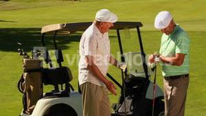 Two male friends chatting on the golf course by their kart