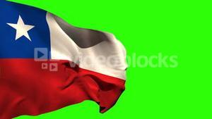 Large chile national flag blowing