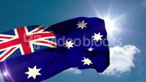 Australia national flag blowing in the breeze
