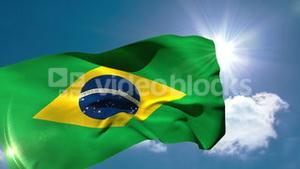 Brazil national flag blowing in the breeze