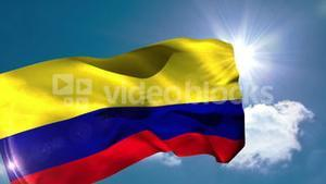 Colombia national flag blowing in the breeze