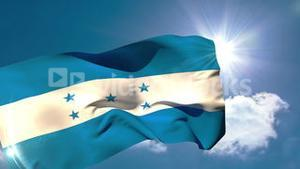 Honduran national flag blowing in the breeze