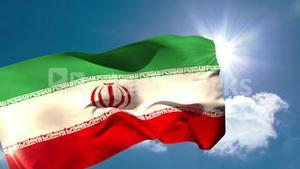 Iran national flag blowing in the breeze