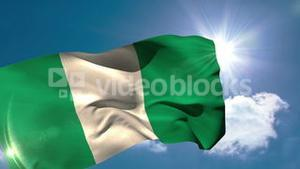 Nigerian national flag blowing in the breeze