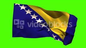 Bosnia national flag blowing in the breeze