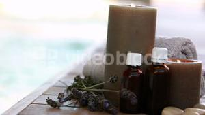 Beauty treatments presented with dried lavender and candles