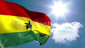 Ghana national flag waving