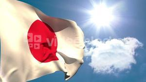 Japan national flag waving