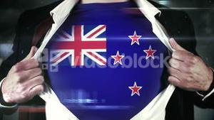 Businessman opening shirt to reveal new zealand flag